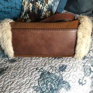 Fossil Adrina suede, leather, faux fur shopper bag